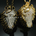 Horse Head Pendant Chain Necklace Animal Jewelry Gold Silver w Swarovski Crystal