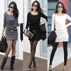 Women Lady Long Sleeve Round Neck Slim Fit Dress Casual Mini Sexy Dress Fashion