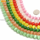8mm Round Lab Created Cat's Eye Glass Beads For Jewelry Making Strand 14""