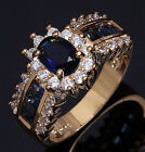 Size 6 To 12 Jewelry Woman's Blue Sapphire 10KT Gold Filled Wedding Ring Gift