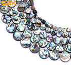 "Natural Flat Coin Abalone Beads Jewelry Making Gemstone Strand 15"" 8mm 12mm 14mm"