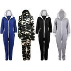 Women's Plain all In One Jumpsuit Zipper Ladies Playsuit Hooded Sizes 8 10 12 14