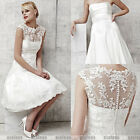 New Custom Size 2 Piece Knee Length White/Ivory Short Lace Wedding Dresses Gowns