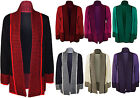 New Womens Plus Size Contrast Open Long Sleeve Top Ladies Knitted Cardigan 16-22