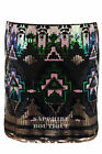 Women's Sequin Shiny Aztec Pattern Stretch Waist Ladies Pencil Short Skirt