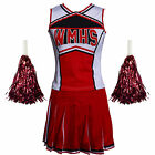 Glee Style College Cheerleader Cheerios Costume Cheer Girl w/ Pom Poms