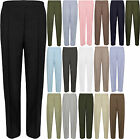 New Plus Size Womens Plain Pocket Ladies Elasticated Trousers Pants 12-24