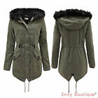 LADIES FLEECE LINED FUR HOODED ZIP WOMENS MILITARY FISHTAIL PARKA JACKET COAT