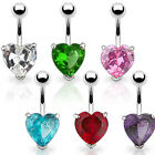 Belly Bar with Large 10mm Prong Set Crystal Gem Solitare Heart - Pick a Colour