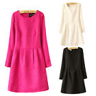 Korean Womens Autumn Winter Long Sleeve Party Cocktail Formal Gown Dress S-3XL