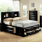 Black Emily Bookcase Headboard Queen King Captains Storag...