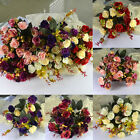 1 Bouquet 21 Head Small Artificial Peony Flower Ranunculus w/ Leaves and Foliage