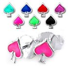 New 925 Sterling Silver Casino Spade Card Playing Suit Stud Earrings