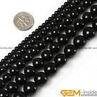 "Natural Black Agate Onyx Gemstone Round Beads 15"" 2mm 3mm 4mm 6mm 8mm 10mm 12mm"
