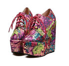 New women's stripe spell color wedge heel high-heeled back lace-up ankle boots