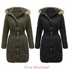 BRAVE SOUL WOMENS LADIES FUR HOODED PUFFER PADDED QUILTED LONG PARKA JACKET COAT