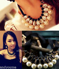 Fashion Womens Crystal Necklace Pearls Ribbon Sweater Sweater Pendant Collar