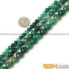 Round Crackle Green agate Jewelry Making loose gemstone beads strand 15""