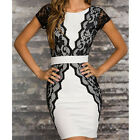 Sexy V Back Slim Fit Lace Short Sleeve Stretch Bodycon Crewneck Women Mini Dress