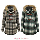 NEW WOMENS LADIES BELTED DUFFLE CHECKED QUILTED PADDED FUR HOODED JACKET COAT