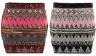 Womens Embroided Sequin Beaded Aztec Pattern Side Zip Ladies Pencil Short Skirt