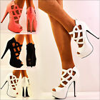 NEW Ladies Cut Out Design Peep Toe Matte Leather High Heel Shoes Sandals Size