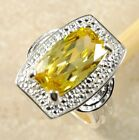 Clearance! R23 Lemon Citrine Silver Plated Ring RRP £24 Sizes M - T, Size 6 - 10