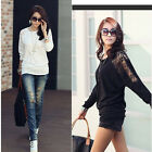 Fashion Women's Batwing Tops Loose T-Shirt Dolman Lace Long Sleeve Ladies Blouse