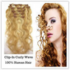 Curly Wave Clip-In 100% Indian Remy Human Hair Extensions Hair piece 10pcs/100g