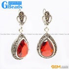G-Beads Fashion Drip Gemstone Marcasite Silver Dangle Stud Hoop Earrings 15x20mm