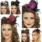 New Adult Womens Mini Glitter Top Hat & Feather Fancy Dress Burlesque 5 Colours