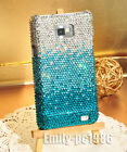 Bling Handmade Swarovski Crystal Cover Case For Samsung Galaxy Note2/Note 3 Blue