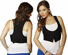 SML Racerback Buttoned Cropped Stretch Waistcoat Bow Back Sleeveless VEST Jacket