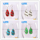 G-Beads Fashion 14x24mm drip beads Marcasite silver dangle earrings