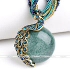 Vintage Millet Chain Cute Peacock Crystal Animal Pendant Necklace Womens Jewelry