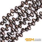 """Side Hole 6x8mm Freeform Cultured Freshwater Pearl Beads For Jewelry Making 15"""""""