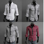PJ Men's Casual Slim Fit line Handsome Stylish Dress Shirts 4 Size S~XL