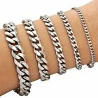 3/5/7/9/11/mm Mens Boys Chain Curb Silver Tone Stainless Steel Bracelet 7-11inch