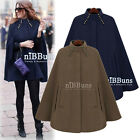 CELEB HOT Button Stand Collar Cape Shawl Cloak Coat Vintage Wool Jacket Outwear