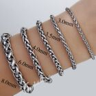 3/3.5/4/6/8/mm Mens Chain Wheat Link Silver Tone Stainless Steel Bracelet 7-11''