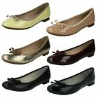 Clarks Carousel Ride Ballerina Shoes With Bow - Nude, Black Patent or Leather