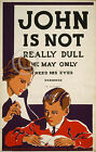 1936 JOHN IS NOT REALLY DULL EYE CHART POSTER WPA MEDICAL VINTAGE