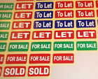 SOLD - FOR SALE - LET - TO LET - Real Estate Stickers / Estate Agents Labels