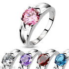BEAUTIFUL WOMENS 316L STAINLESS STEEL SILVER ENGAGEMENT BAND RING W/SOLITAIRE CZ