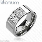 AMAZING MENS SILVER TITANIUM COMFORT FIT WEDDING BAND RING WITH RADIANT CZ'S
