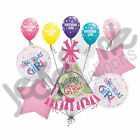 10 pc Birthday Girl Balloon Bouquet Decoration Party Hat Happy Pink Polka Dot