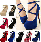 New Sexy Women Ladies Crossover Ankle Strappy  Wedding Party Court High Heels