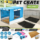 "30"" / 36"" / 42"" / 48"" Collapsible 2Door Metal Wire Dog Crate Cage Tray Pet Puppy"