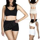 Ladies Womens Seamless SPORTS BRAS Crop Top Leisure Padded Bra Set Boxer shorts