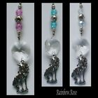Suncatcher #44 Pewter UNICORN Crystal Octagon & LILAC, Blue or AB CLEAR Beads